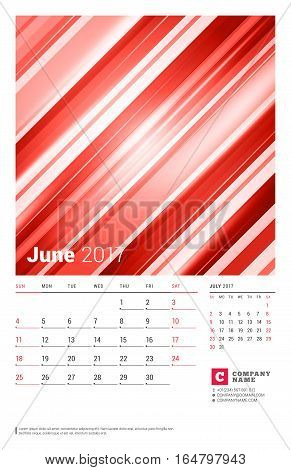June 2017. Wall Monthly Calendar For 2017 Year. Vector Design Print Template With Abstract Red Backg