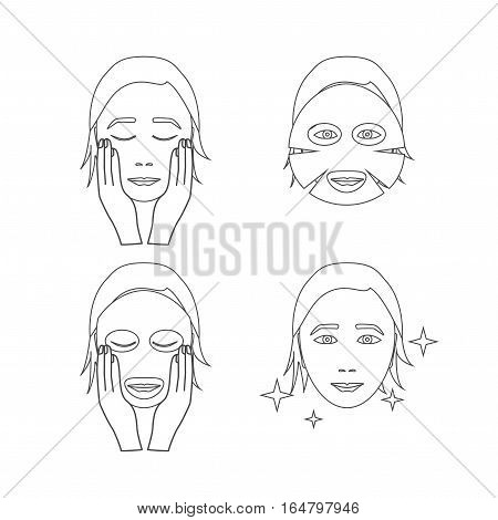 Facial Sheet Mask Step by Step. Poster with the Instruction Manual Outline Pixel Perfect Art. Material Design. Vector illustration