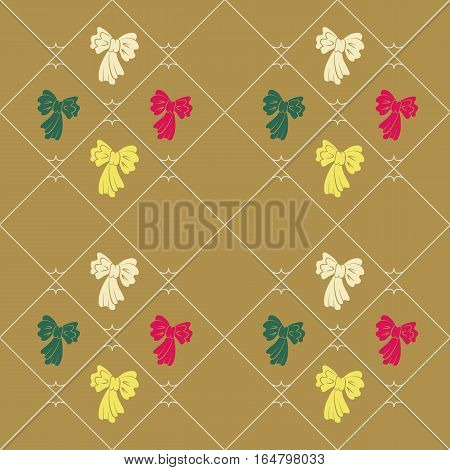 Seamless geometric baby pattern. Texture of diagonal strips, lines, bows. Contrast pink, green, yellow figures on ocher background. Children, hipster colored. Vector