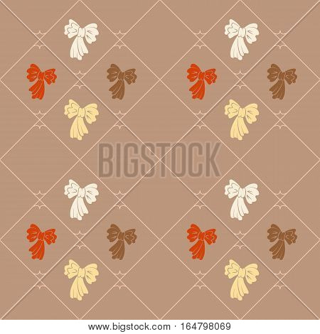 Seamless geometric baby pattern. Texture of diagonal strips, lines, bows. Soft orange, white, brown on tan background. Children, hipster colored. Vector