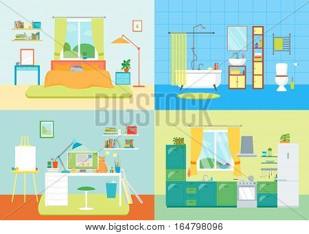 Cartoon Interior Basic Room of Home Working Place, Bathroom, Kitchen and Bedroom with Furniture. Flat Design Style Vector illustration