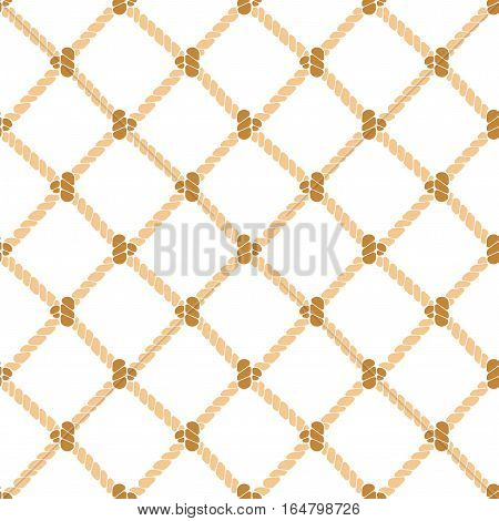 Nautical Rope Knot Background Pattern on a Light. Vector illustration