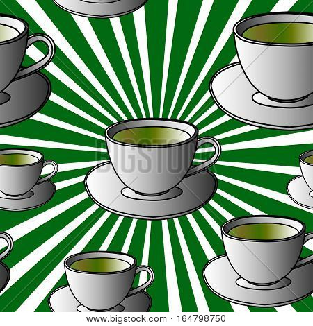 cups of tea pop art on green stripes background Vector