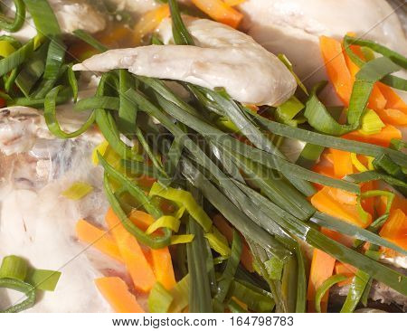 Braised diet chicken with fried vegetables closeup
