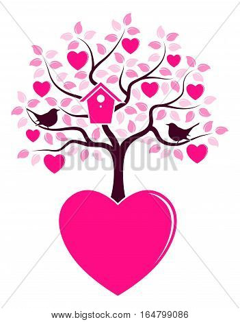 vector heart tree with nesting bird box and couple of birds growing from heart isolated on white background