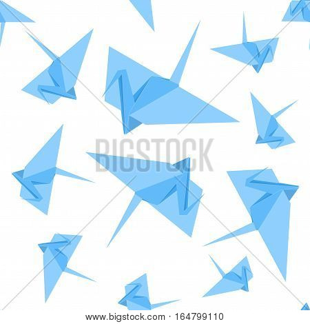 Origami Paper Crane Background Pattern Japan Craft Cute Blue Birds. Vector illustration