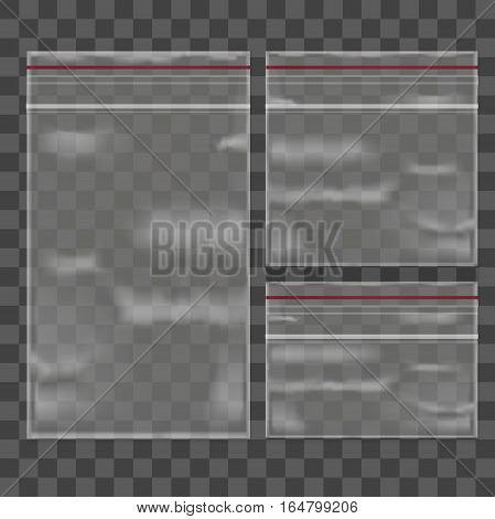Template Blank Transparent Package Set Plastic Bag Zipper Square and Rectangle Shape. Realistic Empty Mock Up Vector illustration