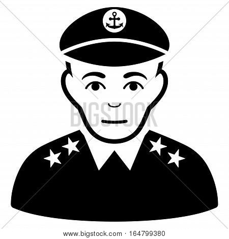 Military Captain vector icon. Flat black symbol. Pictogram is isolated on a white background. Designed for web and software interfaces.