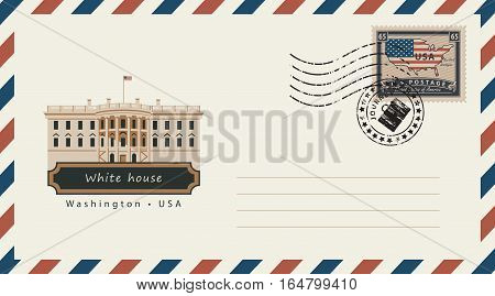 an envelope with a postage stamp with Washington White House and the flag of United States of America