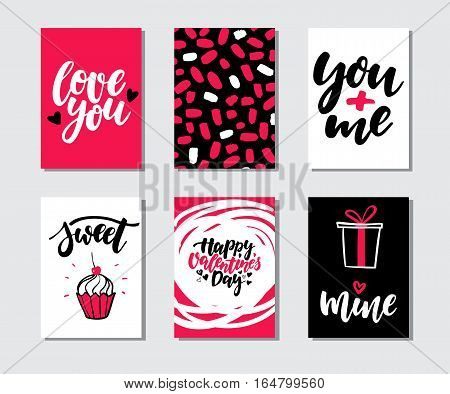 Valentines day gift card vector set. Hand drawn printable templates with lettering, texture, love quotes. Modern style black, white, pink holiday label. Cute romantic sticker, tag with doodle drawing