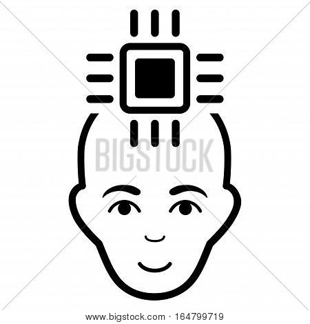 Neural Computer Interface vector icon. Flat black symbol. Pictogram is isolated on a white background. Designed for web and software interfaces.
