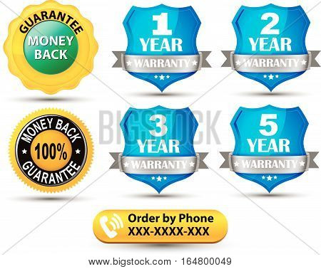 Set of Shields, Guarantee, Money back  - Vector Clipart
