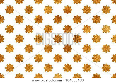 Golden Flowers On White Background.