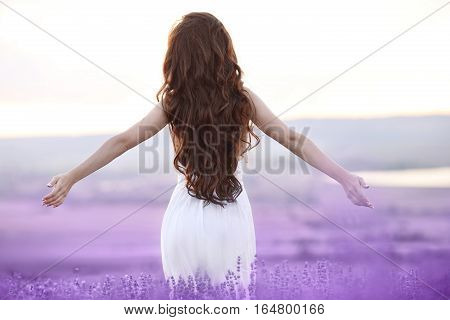 Free Brunette Woman With Open Arms Enjoying Sunset In Lavender Field. Harmony. Attractive Girl With