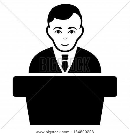 Politician vector icon. Flat black symbol. Pictogram is isolated on a white background. Designed for web and software interfaces.