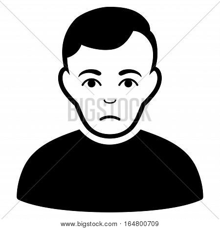 Sad Man vector icon. Flat black symbol. Pictogram is isolated on a white background. Designed for web and software interfaces.
