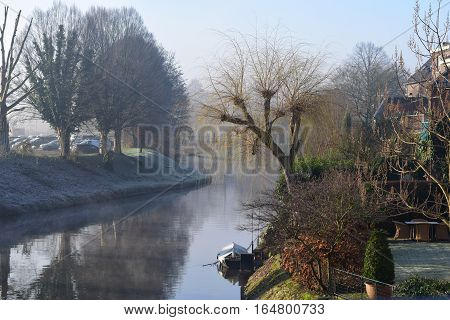 River Roer in Roermond during a foggy morning