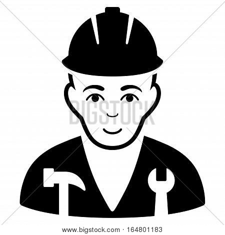 Serviceman vector icon. Flat black symbol. Pictogram is isolated on a white background. Designed for web and software interfaces.