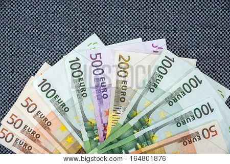 many Euro banknote as background - 500 200 100 50