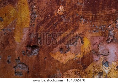 Old paint texture peeling off concrete. Wall background.