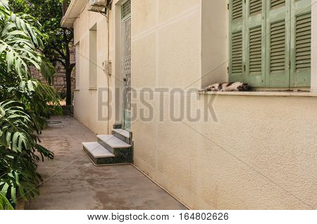 Rethymnon, Island Crete, Greece - July 1 2016: Sleeping cat on the window in Greek yard in hot summer day in city Rethymnon (part of Old Town)