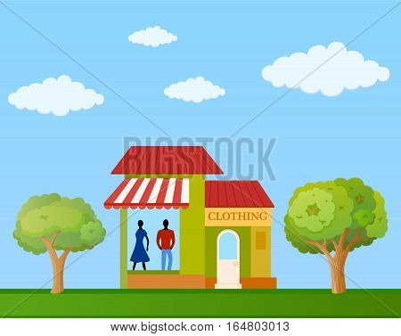 Colorful clothing store building front view on nature background vector illustration