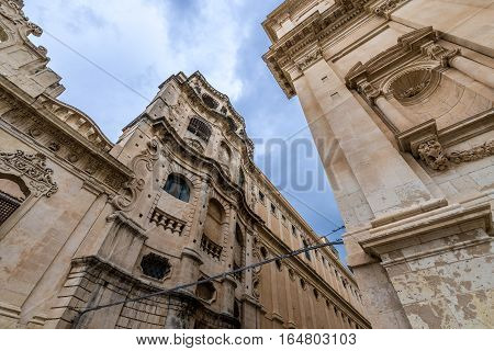 Architecture in Noto city Sicily in Italy