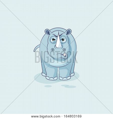 Vector Stock Illustration isolated Emoji character cartoon rhinoceros sticker emoticon with angry emotion for site, info graphics, video, animation, websites, e-mails, newsletters, reports, comics