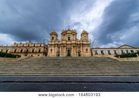 Front facade of Saint Nicholas of Myra Cathedral in Noto city Sicily in Italy