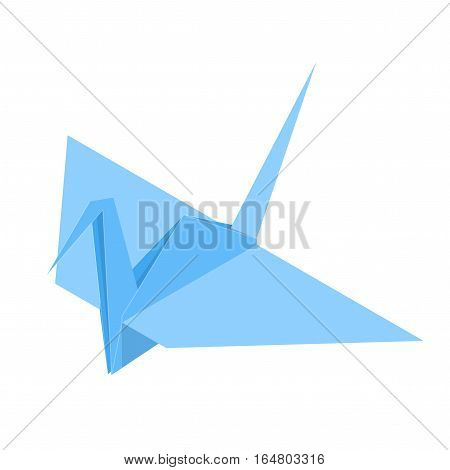 Origami Paper Crane Japan Craft Cute Blue Bird Traditional Gift. Vector illustration