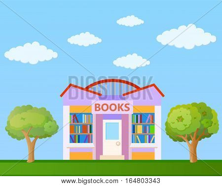 Colorful Book store building front view on nature background vector illustration
