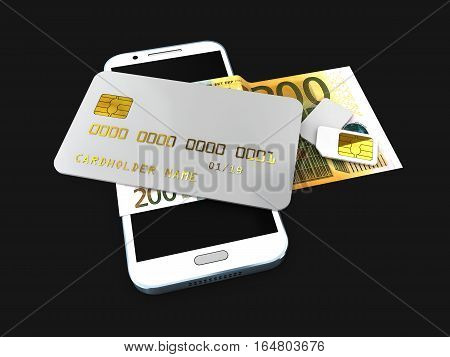 3D Illustration Of Detailed Black Locked Credit Card On The Phone With Simcard Isolated Black Backgr