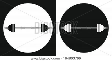 Barbell icon. Silhouette barbell on a black and white background. Sports Equipment. Vector Illustration