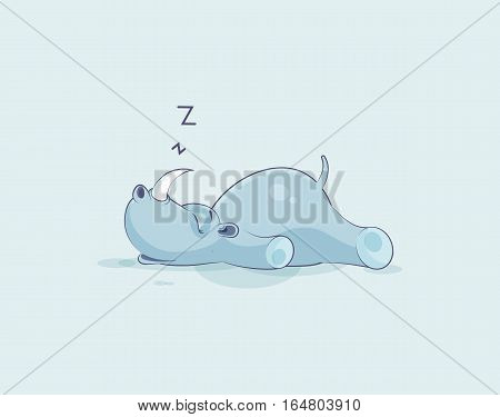 Vector Stock Illustration isolated emoji character cartoon rhinoceros sleeps on the stomach sticker emoticon for site, info graphics, video, animation, websites, e-mails, newsletters, reports, comic