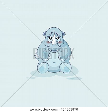 Vector Stock Illustration isolated emoji character cartoon rhinoceros embarrassed, shy and blushes sticker emoticon for site, info graphics, video, animation, websites, mail, newsletters, reports