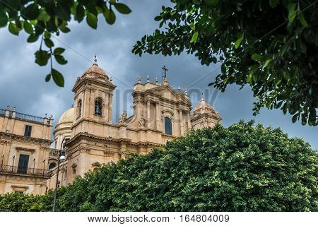Saint Nicholas of Myra Cathedral in Noto city Sicily in Italy