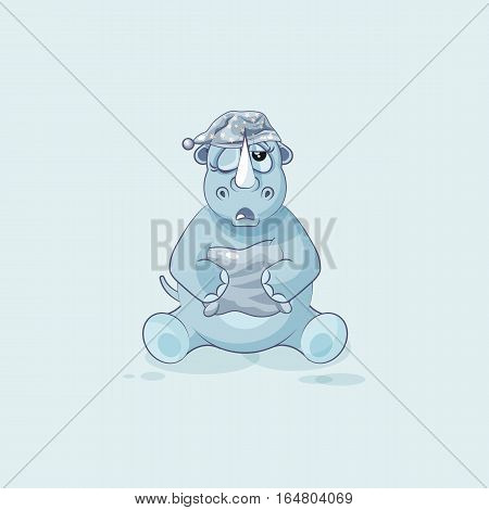 Vector Stock Illustration isolated emoji character cartoon sleepy rhinoceros in nightcap with pillow sticker emoticon for site, info graphic, video, animation, website, mail, newsletters, reports