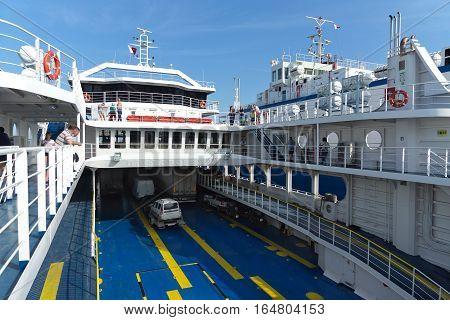 The PORT of CRIMEA RUSSIA - JUNE 11.2015: Loading on the ferry port Caucasus - port Crimea cars