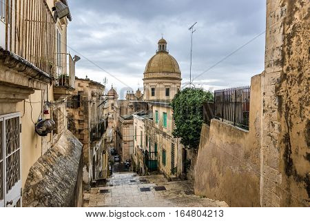 Dome of of Saint Nicholas of Myra Cathedral in Noto city Sicily in Italy