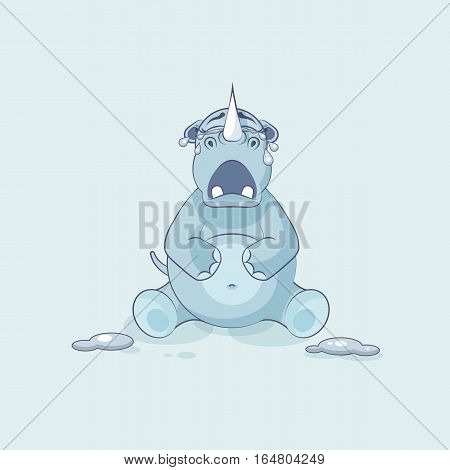 Vector Stock Illustration isolated emoji character cartoon rhinoceros crying, lot of tears sticker emoticon for site, info graphics, video, animation, websites, e-mails, newsletters, reports, comics