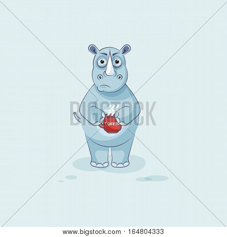 Vector Stock Illustration isolated emoji character cartoon rhinoceros nervous with cup of coffee sticker emoticon for site, info graphics, video, animation, website, mail, newsletter, report, comics