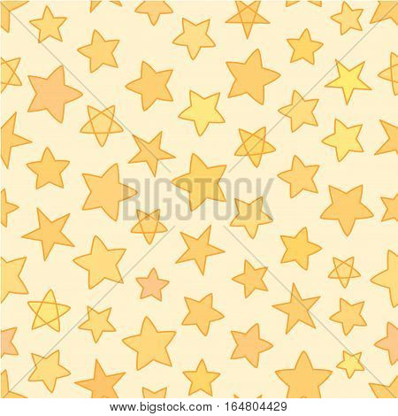 Seamless flat stars with outline patten, yellow and gold vector background