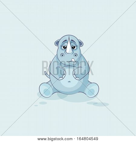 Vector Stock Illustration isolated emoji character cartoon rhinoceros sad and frustrated sticker emoticon for site, info graphics, video, animation, websites, e-mails, newsletters, reports, comics