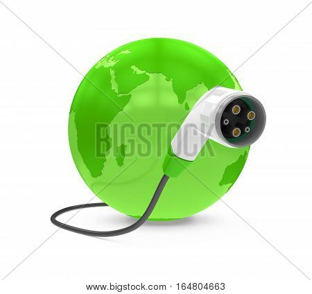 Electric Vehicle Charging Plug and Globe isolated on white background. 3D render