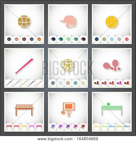 Sport. A set of flat stickers with shadow on white background. Vector illustration