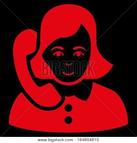 Receptionist vector icon. Flat red symbol. Pictogram is isolated on a black background. Designed for web and software interfaces.