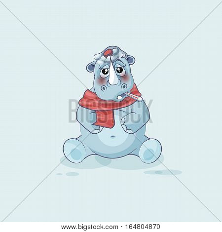 Vector Stock Illustration isolated emoji character cartoon rhinoceros sick with thermometer in mouth sticker emoticon for site, info graphics, video, animation, website, mail, newsletters, reports