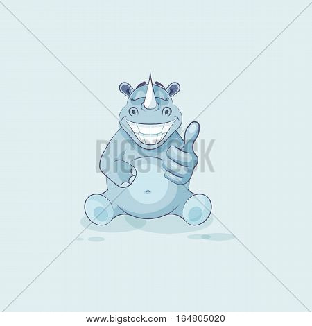Vector Stock Illustration isolated emoji character cartoon rhinoceros approves with thumb up sticker emoticon for site, info graphics, video, animation, websites, mails, newsletters, comics