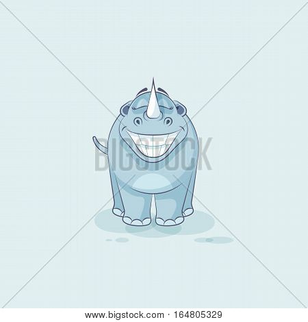 Vector Stock Illustration isolated emoji character cartoon rhinoceros with huge smile from ear to ear sticker emoticon for site, infographic, video, animation, website, mail, newsletter, report, comic