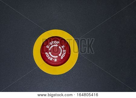 Emergency button on black isolated background. stop button